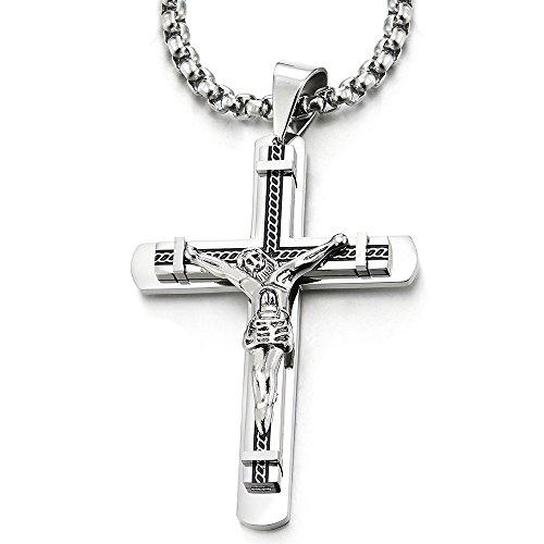 Kruzifix-Keuz-Anhänger Edelstahl Halskette für Herren mit 75cm Stahl Weizen-Kette