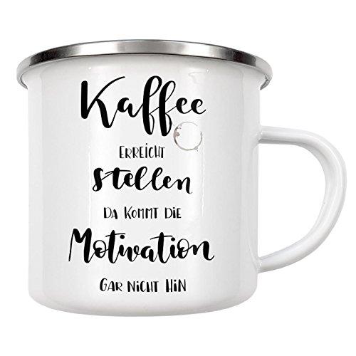 """artboxONE Emaille Tasse """"Kaffee und Motivation"""" von Gelbkariert - Emaille Becher Essen & Trinken"""