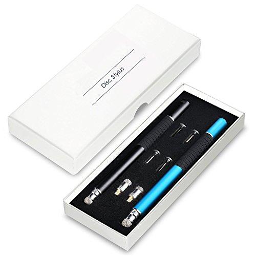 everything4less-uk–Universal FiberMesh 2in 1Präzision Mini Disc Fine Point Stylus/Styli Pen mit Langlebige Spitze Dünn (austauschbar) –-Bonus 4Disc Tipps und 2Faser Tipps enthalten–(2Packungen)