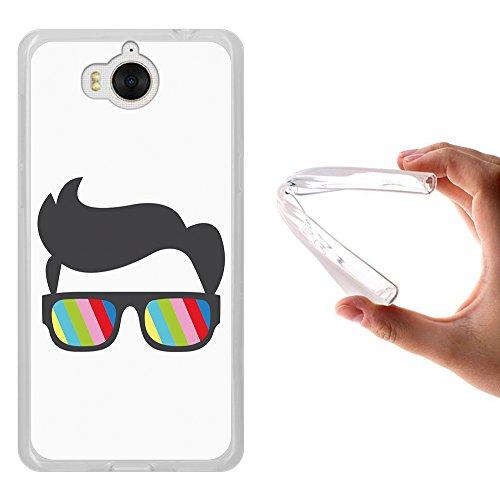 WoowCase Huawei Y5 2017 Hülle, Handyhülle Silikon für [ Huawei Y5 2017 ] Sonnenbrille und Nerd Stil Handytasche Handy Cover Case Schutzhülle Flexible TPU - Transparent