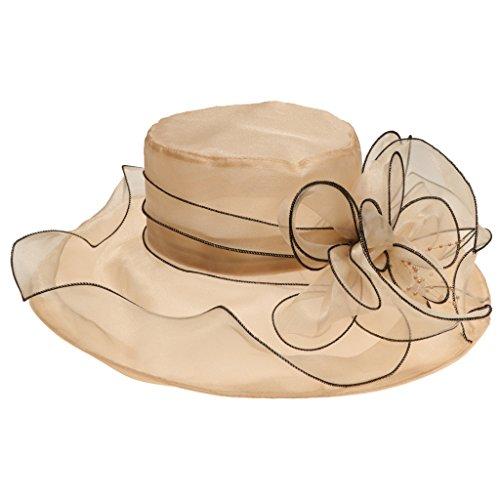 Dizoe Cappello da Sole Donna Tesa Larga Cappelli Spiaggia Berretto con Visiera Estivo Per Chiesa Cocktail Matrimonio