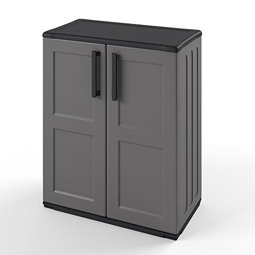 Kunststoffschrank Werkzeugschrank Schrank Kunststoff Regal 84x68 cm Grau - Mit Schrank Kunststoff-abdeckung