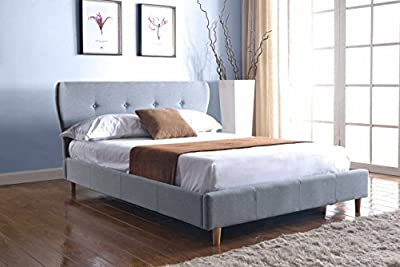 Upholstered Lucia Fabric Bed In Grey Double 4'6 Brand New 2016 Design produced by BEDZONLINE - quick delivery from UK.