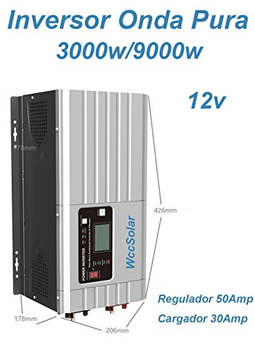 Inverter Onda Pura Hibrido 3000W/9000W 12V regolatore 50A caricatore 30A bassa frequenza)
