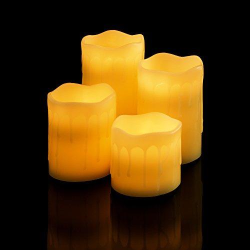 TecTake Velas LED con control remoto de cera real sin llama Juego de lámparas | varias cantidades (Set de 4 | no. 401005)