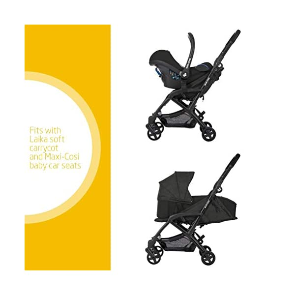 Maxi Cosi Laika Baby Pushchair, Ultra Compact and Lightweight Stroller from Birth, Easy Fold, 0 Months-3.5 Years, 0-15 kg, Nomad Black Maxi-Cosi Ultra-compact one-hand fold - quick to fold with one hand and easy to carry with the shoulder strap Super lightweight and compact - light and compact stroller for effortless walking and carrying Extra-padded seat  - the most comfortable ultra-compact stroller with a large, high seat to cushion baby, and a soft cocooning carrycot 2