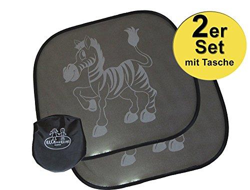 Sonnenschutz-Auto-Blenden selbsthaftend fürs Auto | 2-er Set Sonnenblende BONUS plus Tasche | Schutz vor Licht & Hitze für Baby und Kind (Motiv: Zebra Aussen) | Von Ella och Elias