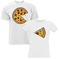 Idea Regalo - Tim and Ted Confezione da 2 T-Shirt in Bianco Pizza Fetta Suo Presente Hers San Valentino Divertente