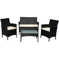 SVITA Gartenmöbel Poly Rattan Sitzgruppe Essgruppe Set Sofa-Garnitur Lounge Braun, Grau oder Schwarz (Schwarz)