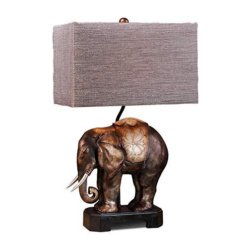 BeiMi Lámpara de Mesa - Lámpara de mesilla de Noche de Resina Creativa Retro - Cuerpo de lámpara de Elefante Tallado a Mano - Pantalla de Tela - for Dormitorio Sala de Estar Hotel Estudio E27