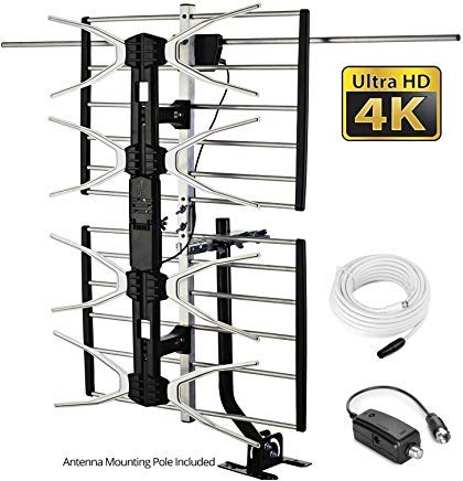 pingbingding HD TV Antenne Outdoor Antenne Digital Antenne Amplified Antenne 150 Mile Long Range Antenne High Gain für UHF/VHF mit Mounting Pole & 40 FT RG6 Koaxialkabel - Einfache Installation -