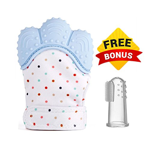 Crownzz Unisex Teething Mitten and Free Toothbrush for Baby-Adjustable Velcro Strap Mitt Bpa Free-Best Self-Soothing Teether to Relief Teething Pain & Protect Babies Hand From Saliva-Food Grade Silicone Mitt (blue) 41F1tJTXN3L