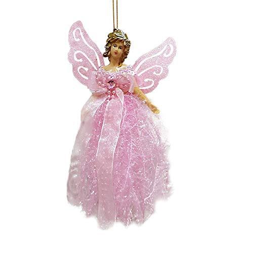 Eternitry Mini Christmas Tree Pendant Angel Feather Doll con Ali d'Argento Bagattelle Ornamenti Jingle Bell Halloween