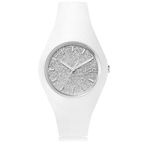 Ice-Watch - ICE glitter White Silver - Weiße Damenuhr mit Silikonarmband - 001351 (Medium)