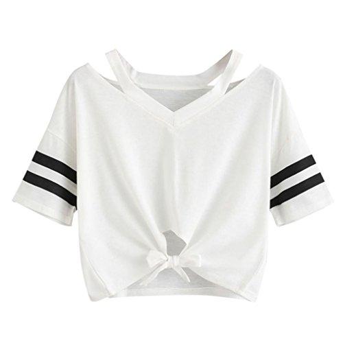 feiXIANG Damen drucken t - shirt locker pullover tops kurze ärmel lässige bluse Weißes Hemd (M, Weiß 1)
