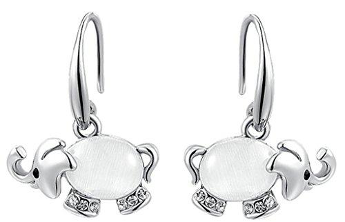 Chapado en Oro Pendientes, Mujeres Pendientes Austriaco Cristal Elefantes Oro Blanco Epinki