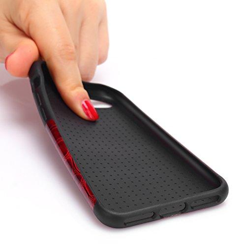 TENDLIN Coque iPhone 8 Cuir Crocodile Lisse et Flexible TPU Silicone Hybride Souple Housse Etui pour iPhone 7 et iPhone 8 (Rouge Foncé) Rouge