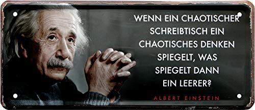 Chaotischer Schreibtisch Albert Einstein Spruch 28x12 Deko Blechschild 2056