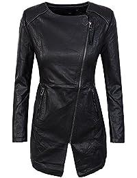 Damen Kunstleder Mantel Jacke Übergangsjacke Damenmantel Schwarz D-301 ... 2b56011f7d