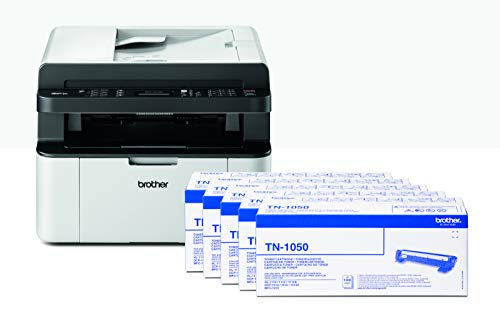 Brother mfc1910w stampante multifunzione laser, bundle all in box con 5 toner originali inclusi, wi-fi