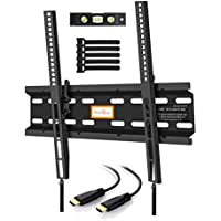 Support mural TV Inclinable – Support Mural Inclinable Pour LED, LCD, OLED, TV A Écran Plat De 23 à 55 Pouces – Support Mural Ultra Résistant Qui Inclus Câble HDMI 1.8m, Niveau à Bulle, Attaches De Câble.