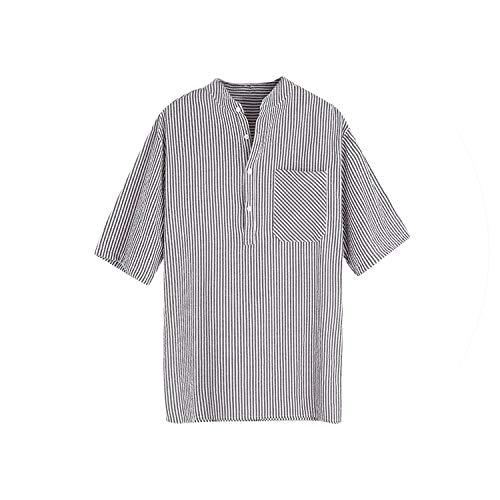 Männlich Breathable Hemd Mode Für Männer Streifen Buttons Tasche Beiläufige Kurze Hülsen-Spitzenbluse, Grau, 4XL