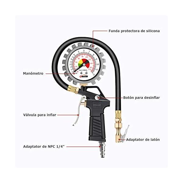 oasser Manómetro Presión Neumáticos 0-12bar Manómetro Inflador Neumáticos para Compresor Medidor Presión Neumáticos…