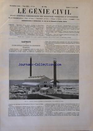 GENIE CIVIL (LE) [No 775] du 17/04/1897 - REVUE GENERALE DES INDUSTRIES FRANCAISES ET ETRANGERES STATION CENTRALE ELECTRIQUE DE JOHANNESBURG