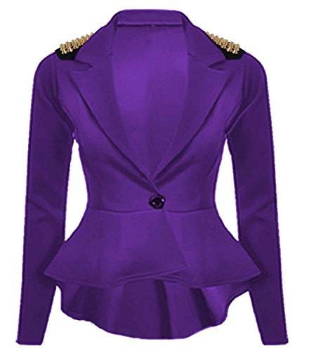 Chocolate Pickle ® Femmes cloutés volantée Blazer bouton Vestes Purple Studs