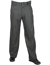 Hose Swing in schwarz mit weißen Nadelstreifen für Herren BESTE QUALITÄT, Bundfaltenhose mit Nadelstreifen, 301607