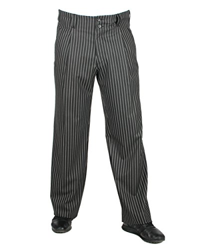 Fifties Herren Hose Schwarz mit weißem Nadelstreifen Retro Vintage Stly Herren Chino Casual Stoffhose, Model Swing Größe 46
