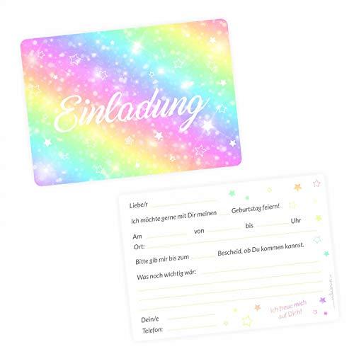 nikima Schönes für Kinder 5 Einladungskarten Regenbogen Sterne mit Glitzer inkl. 5 Transparenten Briefumschlägen Kindergeburtstag Mädchen Bunt Einladung Sterne weiß Bunt