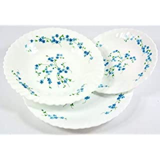 Arcopal 18pc VERONICA Dinner Set ( 6 plates each in 25cm / 23cm & 19cm Dinner plates, soup plates and dessert plates ) NEW DESIGN