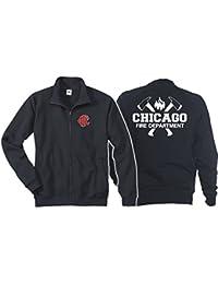 Veste sweat bleu marine, Chicago Fire Dept. avec haches et emblème CFD