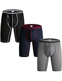 Nuofengkudu Hombre Pack Bóxers Ajustados Cortos Bulge Braguitas Calzoncillos Suave Elástico Compresión Shorts