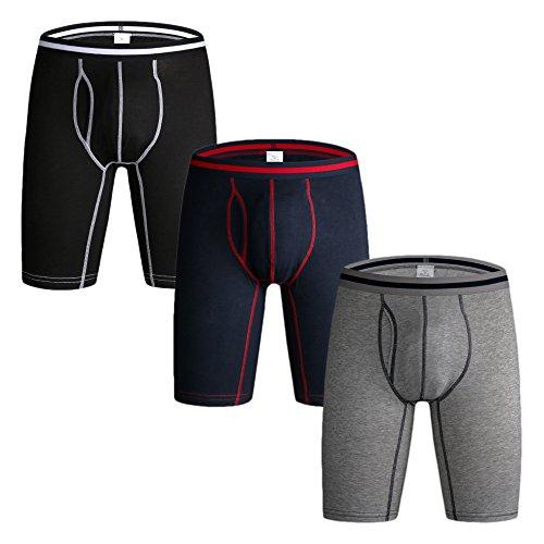 Nuofengkudu Herren Männer Mode Retroshorts Langes Bein Sport Elastan Boxershort Shorts Brief Unterhosen Panties Unterwäsche 3er Pack Schwarz/Grau/Blau Größe S