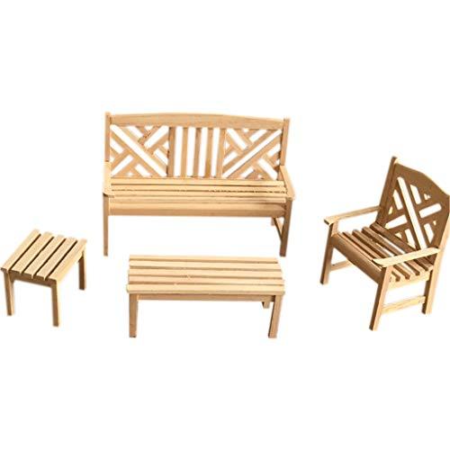 eliaSan Spielzeug Miniatur Fee Gartenmöbel Rustikale Mini Holztisch mit 3 Stück Chiair Miniatur Gartenmöbel für 1/12 Puppenhaus Puppenhaus Dekoration