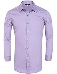 PaulJones Camicia da Uomo Slim Fit Tinta Unita Manica Lunga Casual 32527e95b4bc