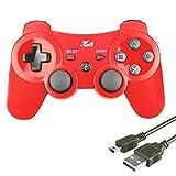 Kabi Wireless Controller Double Shock Gaming Controller 6-Achsen Bluetooth Gamepad Joystick mit kostenlosem Ladekabel für PS3 Controller für Playstation 3(Rot)