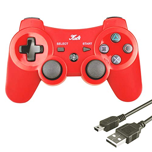 Kabi Wireless Controller Double Shock Gaming Controller 6-Achsen Bluetooth Gamepad Joystick mit kostenlosem Ladekabel für PS3 Controller für Playstation 3(Rot)