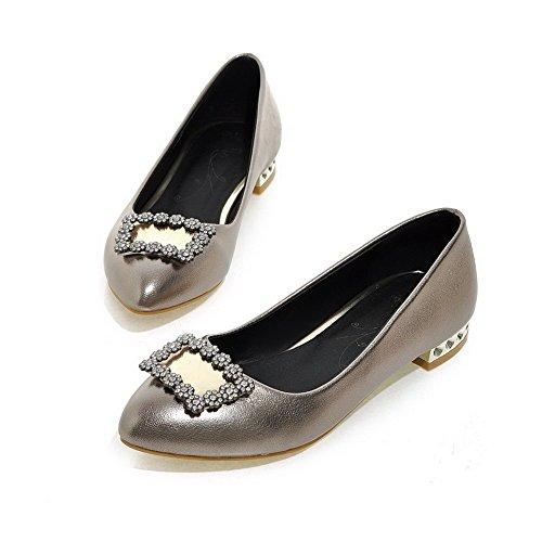 AllhqFashion Damen Spitz Zehe Niedriger Absatz Weiches Material Rein Ziehen Auf Pumps Schuhe Grau