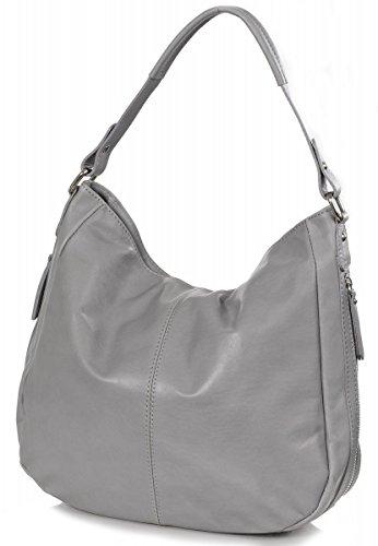 Sachet italien Nappa sac bandoulière en cuir lisse doux (35 x 32 x 11 cm), Colour:Marron (Dark Taupe) Gris (Grey)