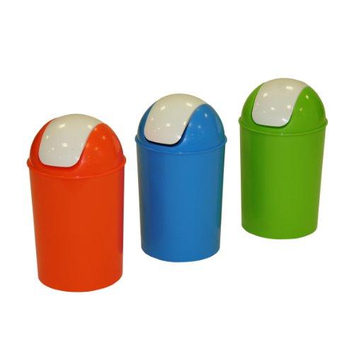 Axentia 235601-Cubo de basura con tapa basculante (25L), diseño redondo, colores surtidos