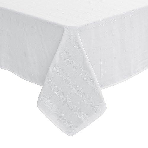 Deconovo Nappe 137x200cm Rectangulaire Impermeable Motif à Carreaux Nappe Blanche Table de Jardin Impermeable