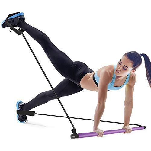 GYFHMY Bodybuilding Yoga Pilates Stick con Foot Loop - Core Strength Fitness Gym Resistance Band Bar Kit - Ideal para el Entrenamiento Corporal Total en el hogar, Gimnasio, Levantamiento de Pesas