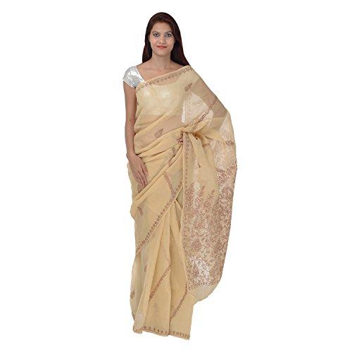 Saundarya Sarees Women Cotton Chikan Brown and White Saree