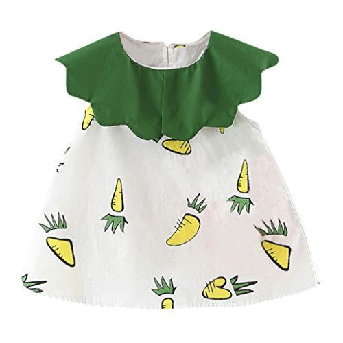 Junjie Kleinkind Baby Kinder mädchen Karotte rüschen Patchwork Kleid Sommer Tshirt Oberteil Bluse Prinzessin Kleider Kleidung orange, gelb