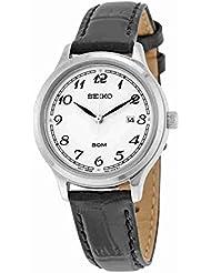 Seiko sur775Damen Edelstahl Schwarz Leder Strap Band Silber Zifferblatt Armbanduhr