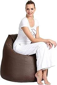 Comfy Pvc Leather Large Bean Bag, Dark Brown