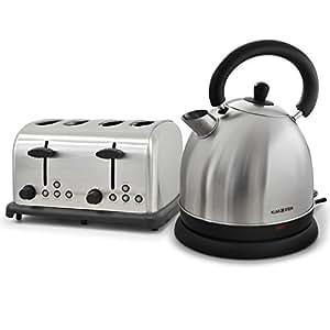 Klarstein Frühstückset Bed and breakfast Retro Toaster & Teekessel Wasserkocher (4-Scheiben, Cool Touch, Edelstahl) silber